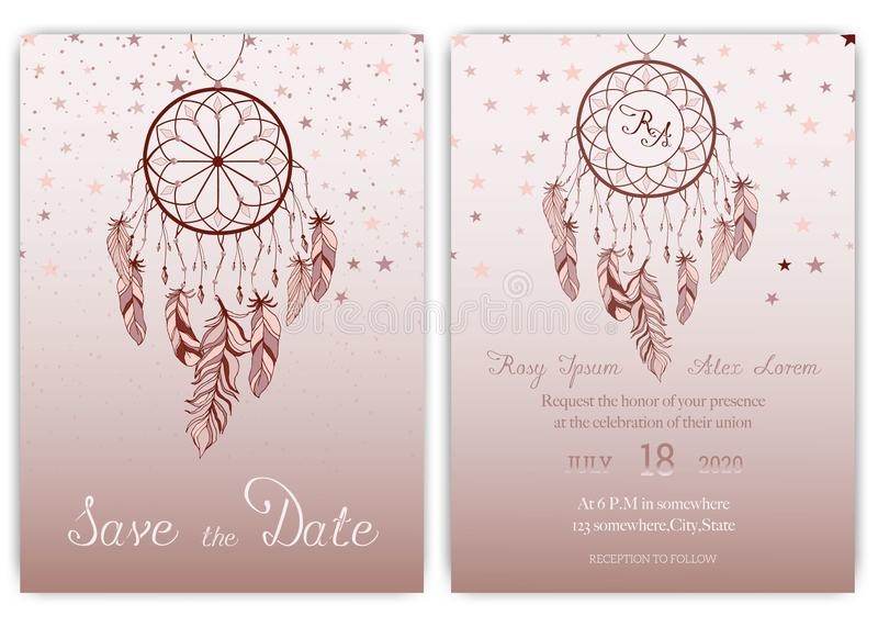 Wedding card invitation hand drawn native american dream catcher beads vector image royalty free illustration