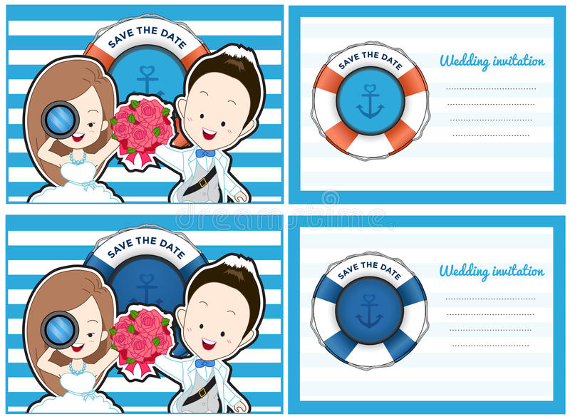 Wedding card invitation in pirate and blue sea theme. stock illustration
