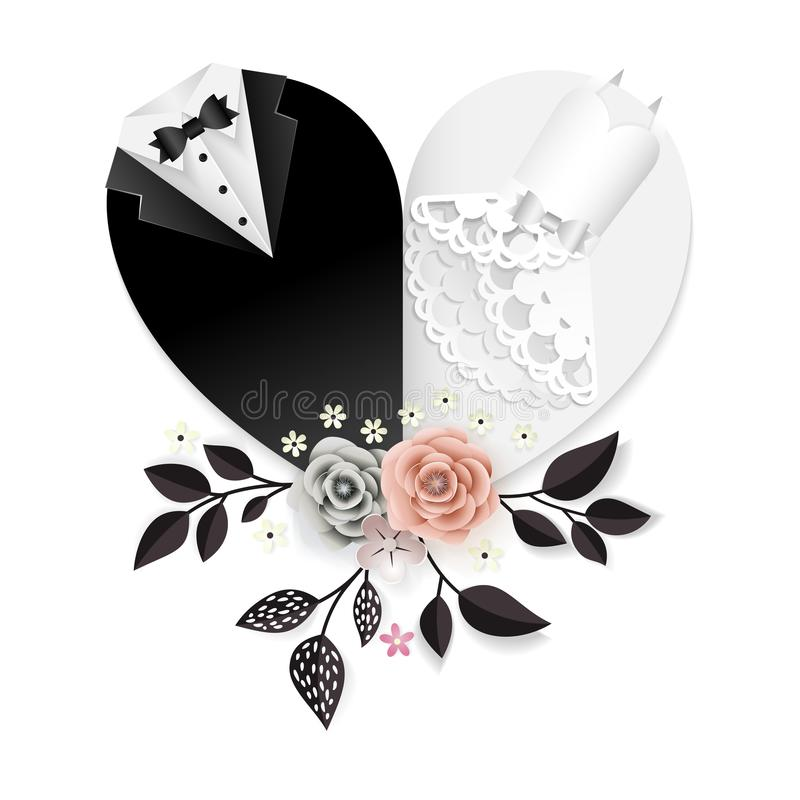 Wedding card with paper cut flowers and heart shape clothes of bride and groom royalty free illustration