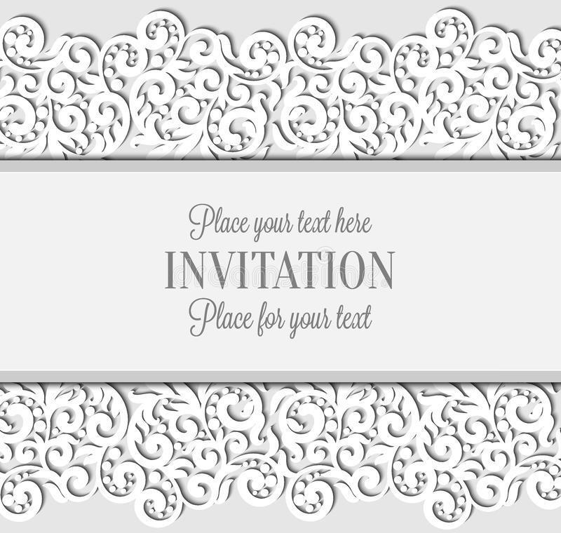 Wedding card with paper lace frame, lacy doily. On greeting card invitation template stock illustration