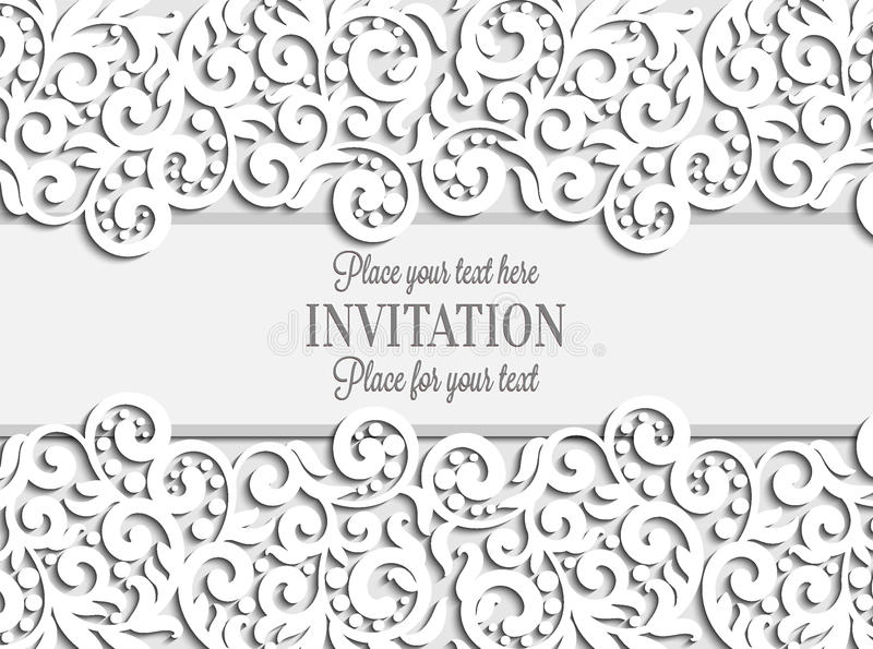 Wedding card with paper lace frame, lacy doily. On greeting card invitation template royalty free illustration