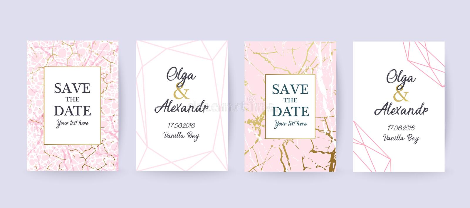 Pink Marble and gold texture background, card. vector illustration