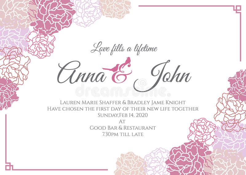 Wedding Card  Pink Rose Floral Frame Vector Template Design Stock