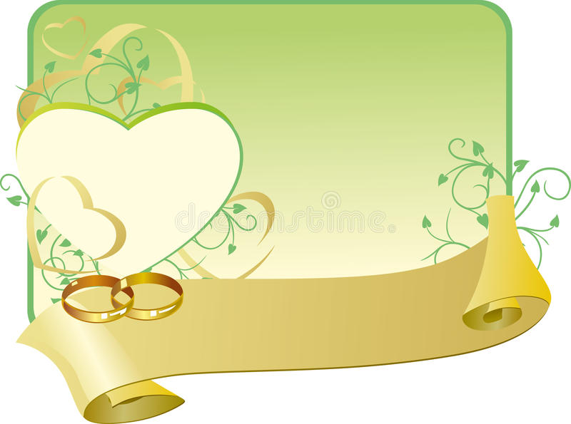 Wedding card with ribbon royalty free illustration