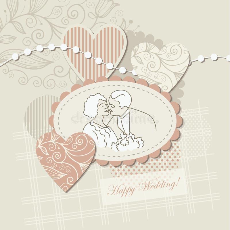 Wedding card ,scrap-booking element royalty free illustration