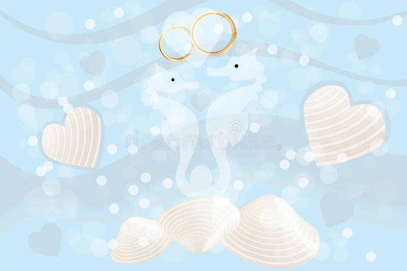 Wedding card with seahorses and rings. Wedding card with seahorses and wedding rings, hearts and mussels on ocean background - eps 10 vector stock illustration