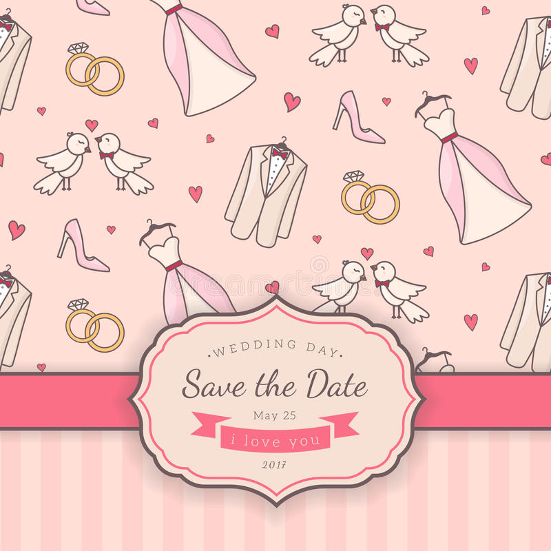 Wedding card template. Vector decorative background for sweet romantic design stock illustration
