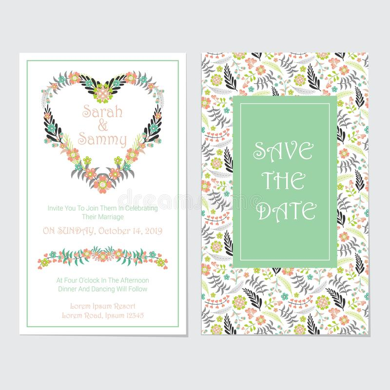 Wedding card vector design template with flowers heart wreath stock photo