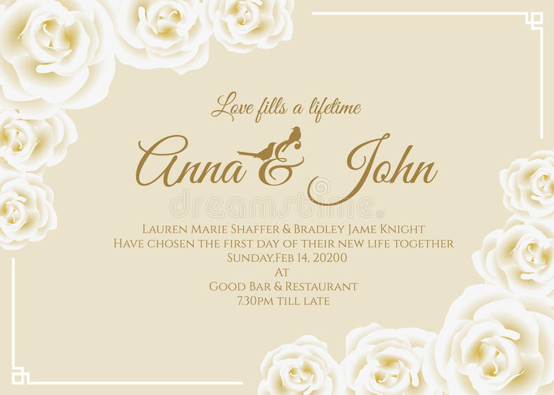 Wedding card - white rose floral frame and soft yellow cream background vector template design stock illustration