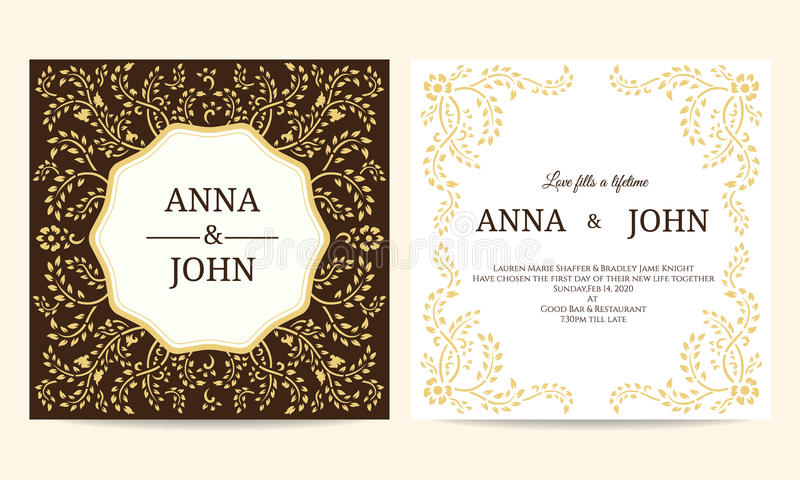 Wedding card - Yellow and Brown creeping plant frame vintage vector template design stock illustration
