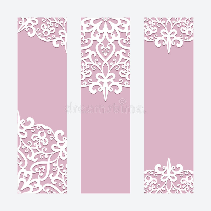 Wedding cards or banners with lace ornament stock illustration