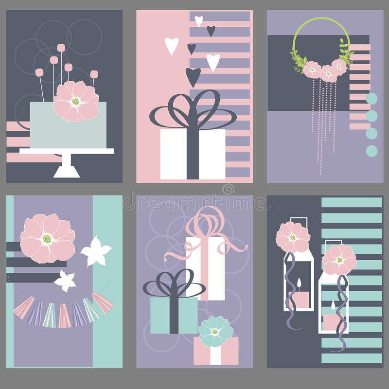 Wedding cards with cake, flowers.Vector illustration vector illustration