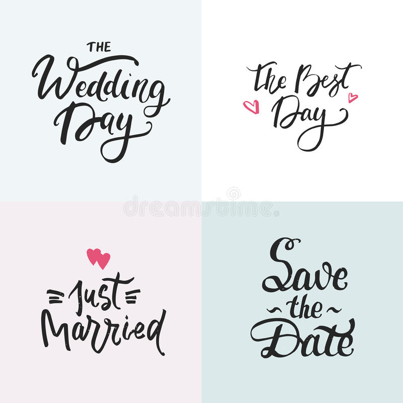 Wedding cards collection with handdrawn lettering. Phrase for wedding invitations. stock photo
