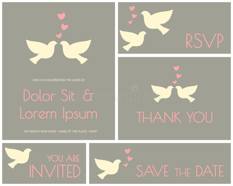 Wedding Cards Collection vector illustration