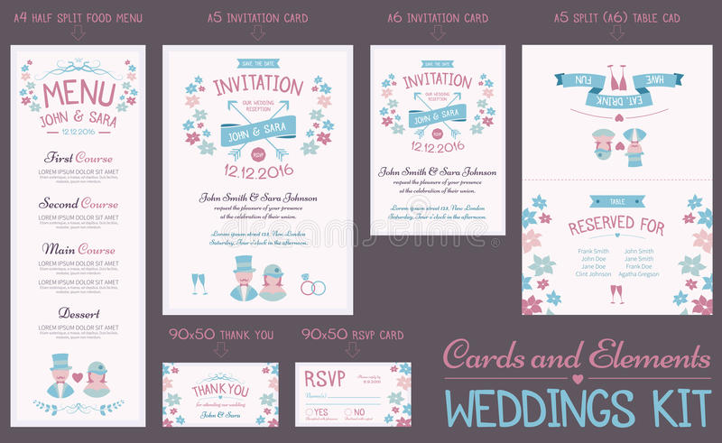 Wedding Cards Collection stock illustration