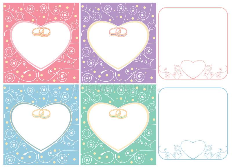 Wedding cards and frames with rings stock illustration