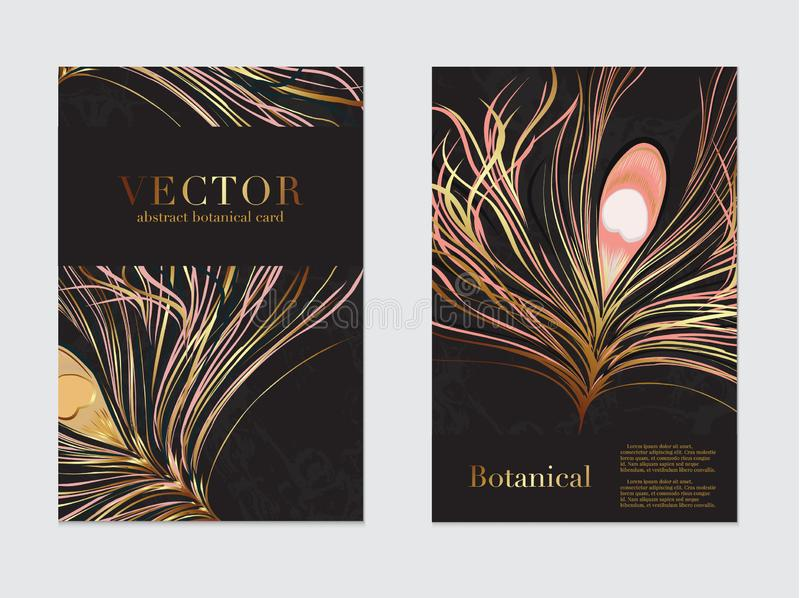 Wedding cards with luxury gold peacock feather and text. Modern invitation design background for wedding, invitation, web, banner royalty free illustration