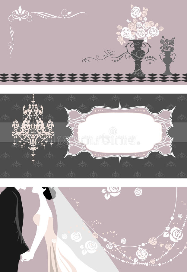 Wedding cards with space for text. And decoration royalty free illustration