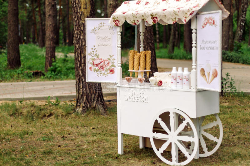 Wedding cart with ice cream. In a beautiful pine forest stock image