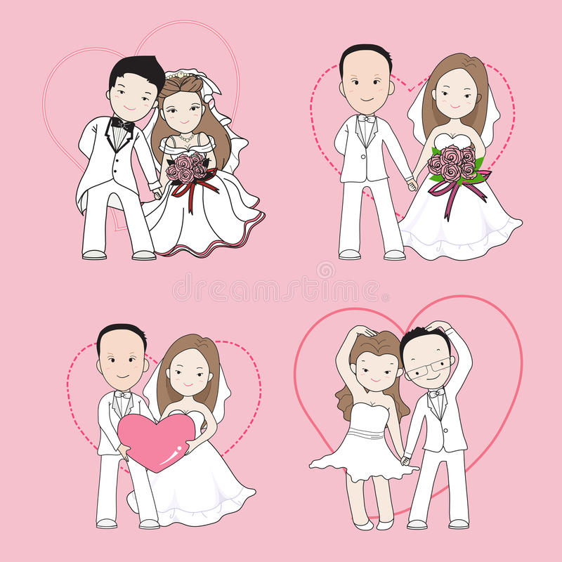 Wedding cartoon, bride and groom holding each other's hands royalty free illustration