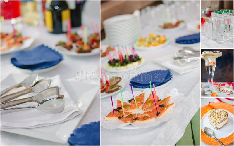 Wedding catering collage - food and crockery for rehearsal dinner. stock photos