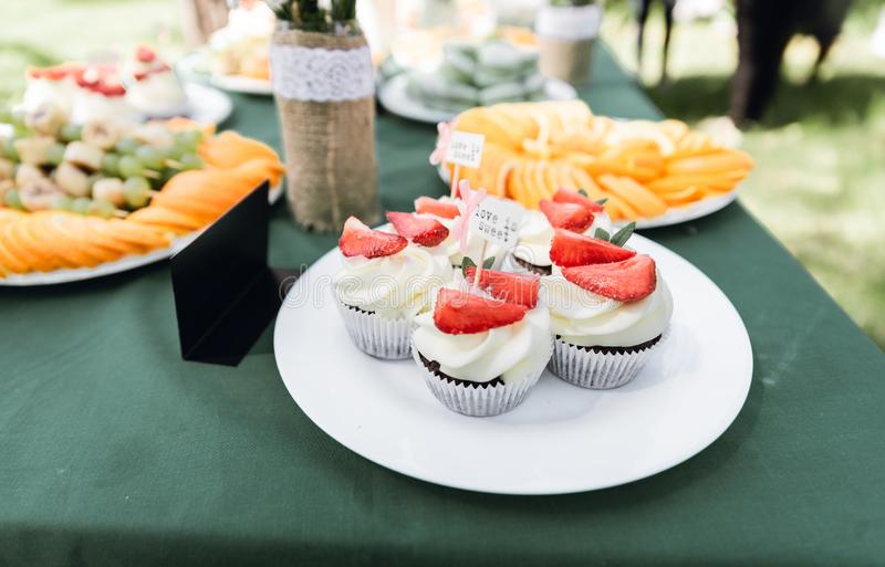 Wedding catering. Outdoors fourchette. Details of a festival catering: fruits, cupcakes, macaroons and burgers. Sweet table at the feast. Delicious candy bar at royalty free stock images