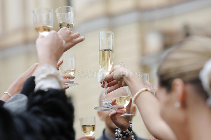 Wedding celebration with champagne. Glasses stock photography