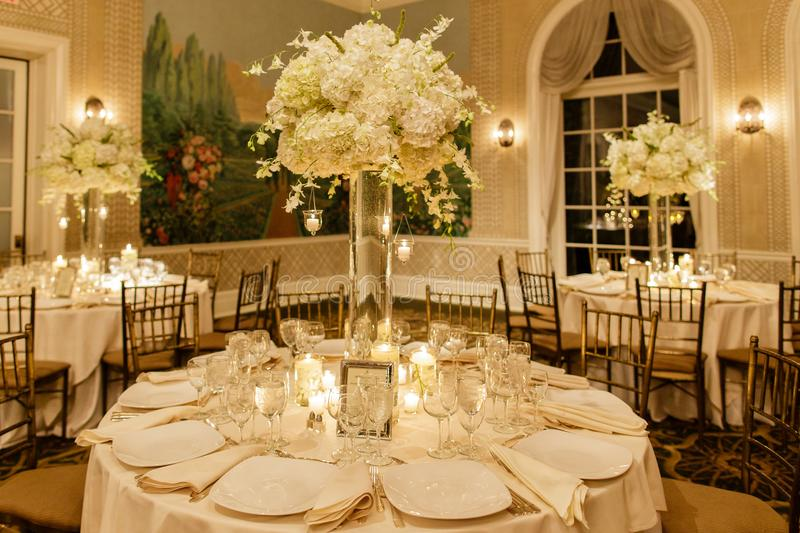 Wedding centerpiece table set for reception royalty free stock image