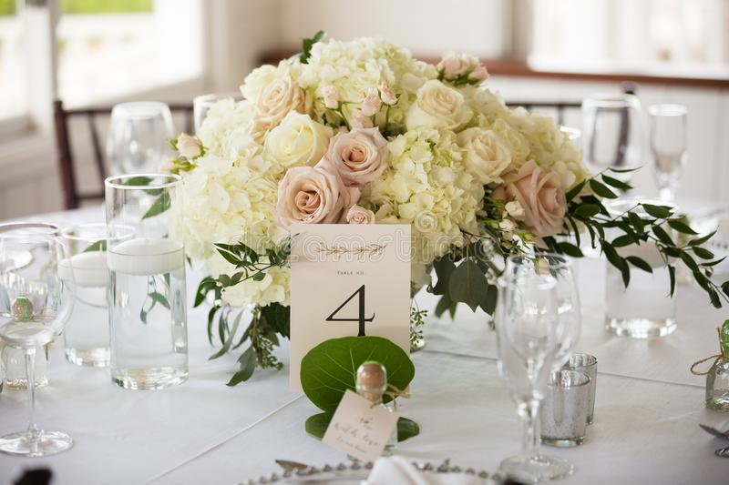 Wedding Centrepiece. A beautiful wedding centrepiece resting on a table royalty free stock photo
