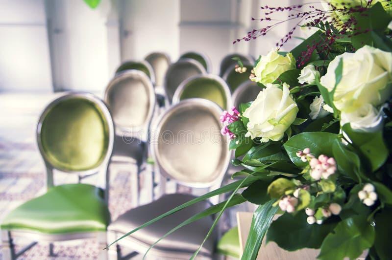 Wedding ceremonial room. Detail of wedding ceremonial room stock photos