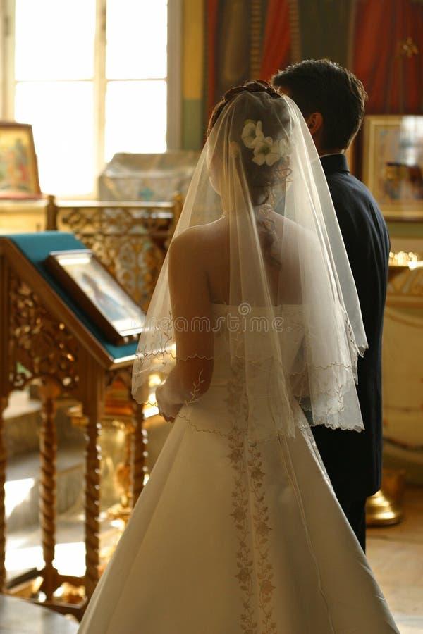Wedding ceremony. Before the wedding ceremony - inside church royalty free stock photo