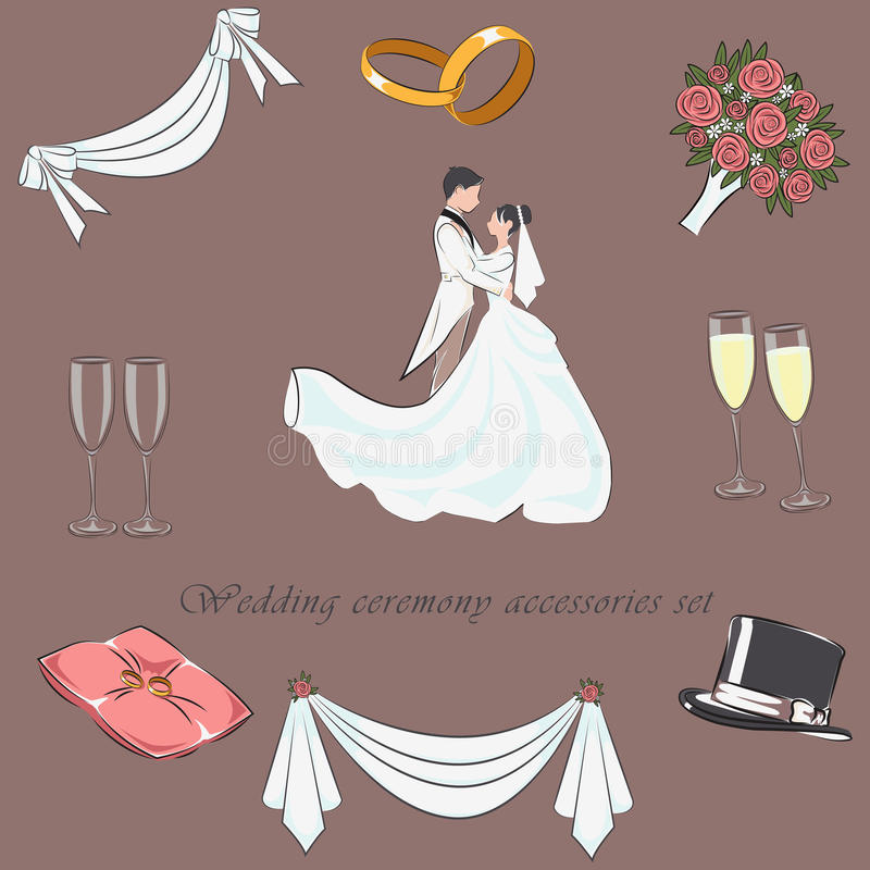Download Wedding Ceremony Accessories Set Flat With Items Graphic Elements For Invitation