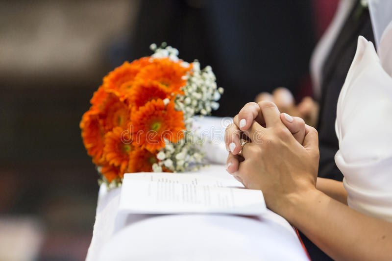 Wedding ceremony of church royalty free stock images