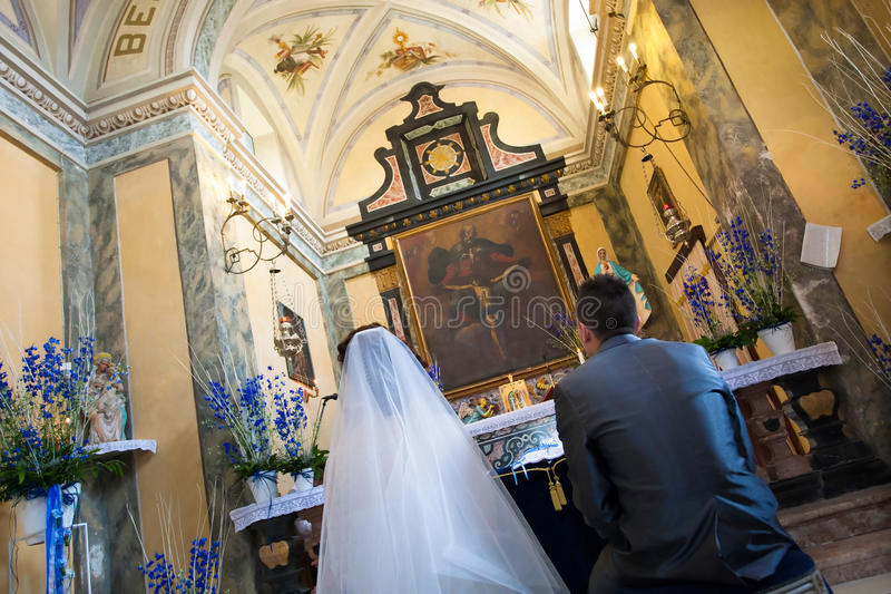 Wedding ceremony in the church stock images