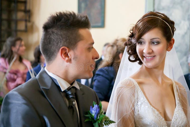 Wedding ceremony in the church stock photos