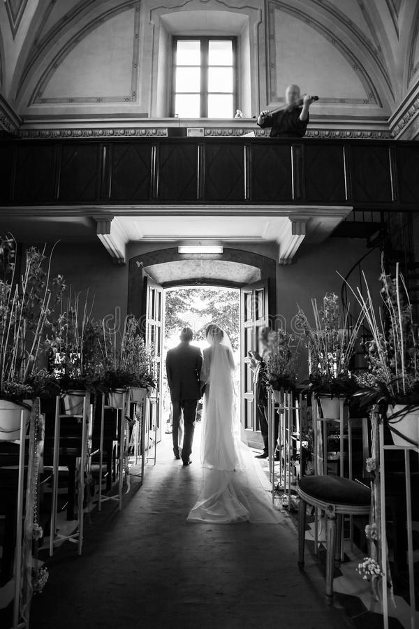 Wedding ceremony in the church stock image