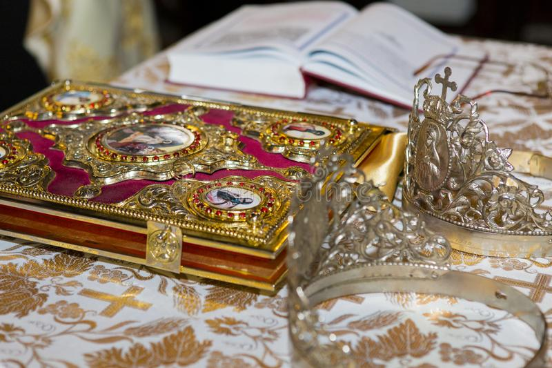 Wedding ceremony detail the priest table royalty free stock photo