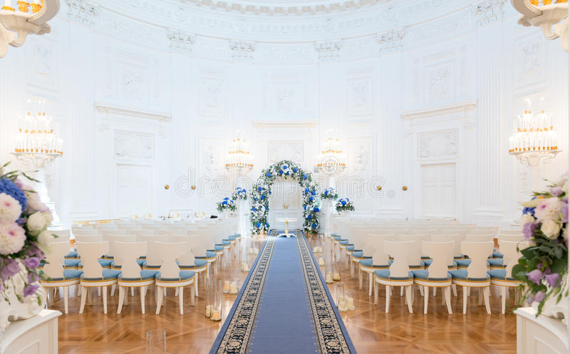 Wedding ceremony hall. Ready for couple and guests stock photo