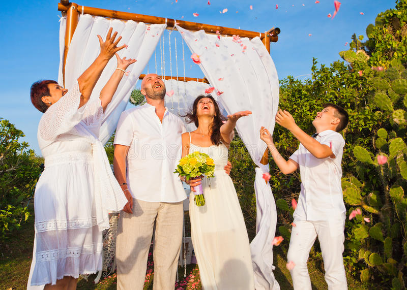 Wedding ceremony of mature couple and their family royalty free stock photos