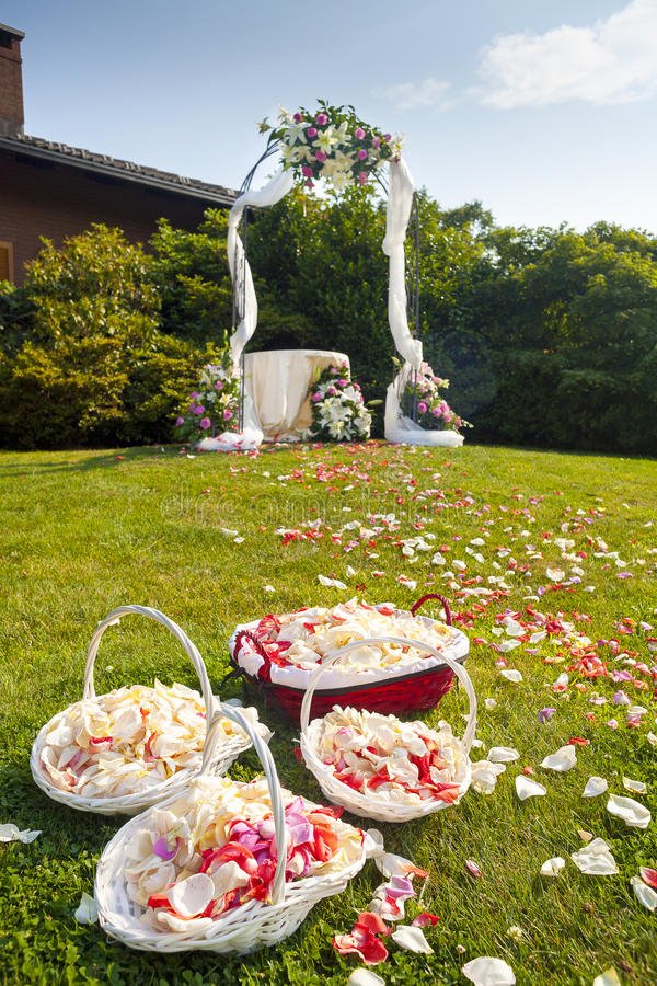 Wedding ceremony outdoor stock images
