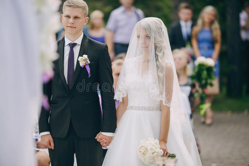 Wedding ceremony outdoors in the woods royalty free stock photos
