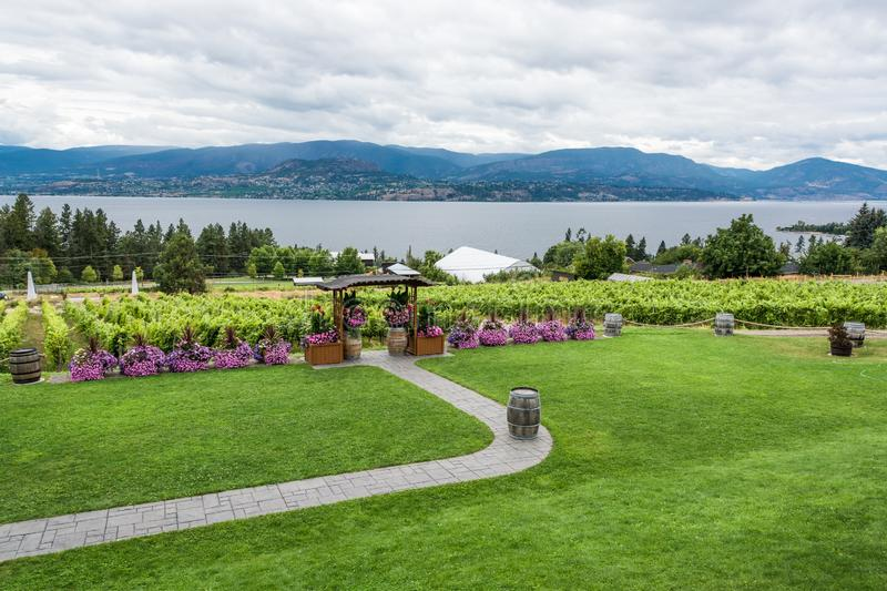 Wedding ceremony place on the vineyard with panoramic view on Okanagan lake. royalty free stock photography