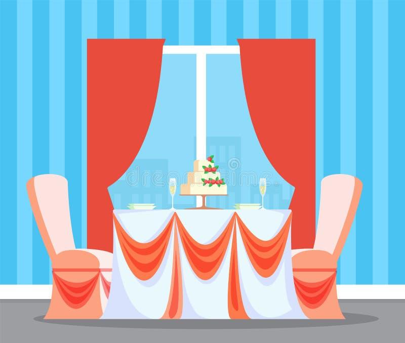 Wedding Ceremony Reception In Restaurant Interior Stock