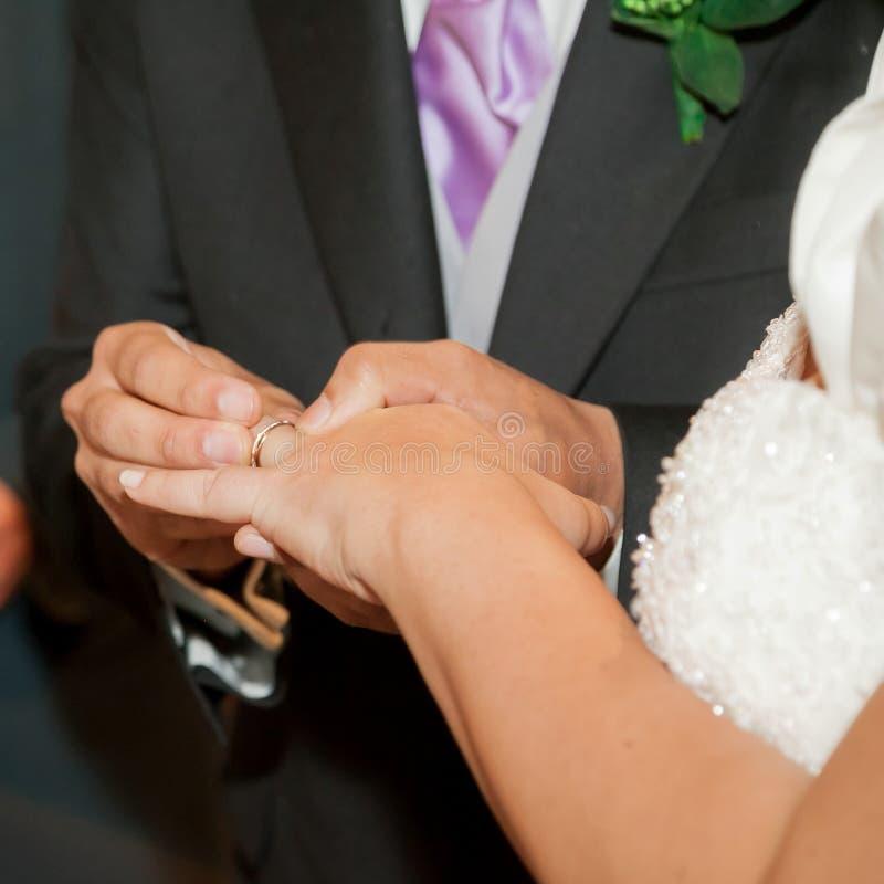 Wedding ceremony ring exchange stock photos