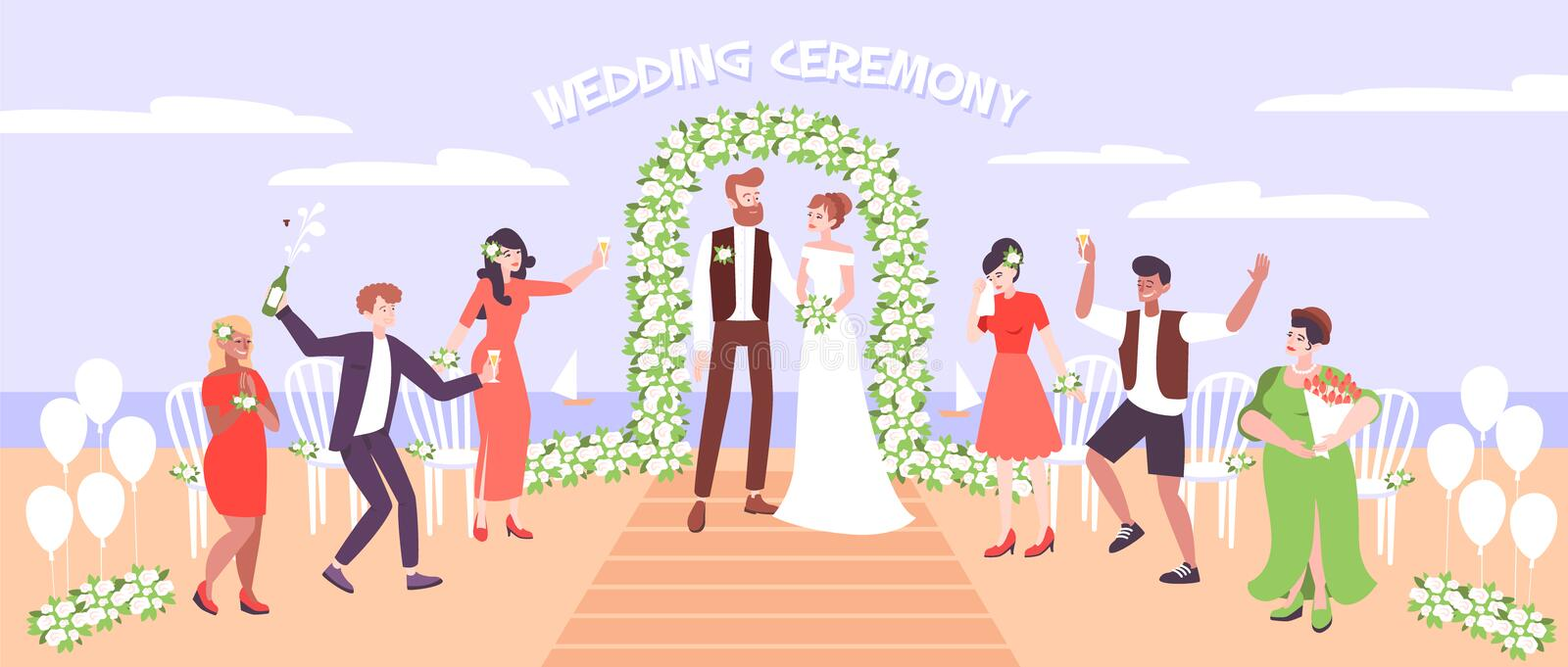 Wedding Ceremony On Sea Beach. With just married couple under wedding arc decorated with flowers vector illustration royalty free illustration
