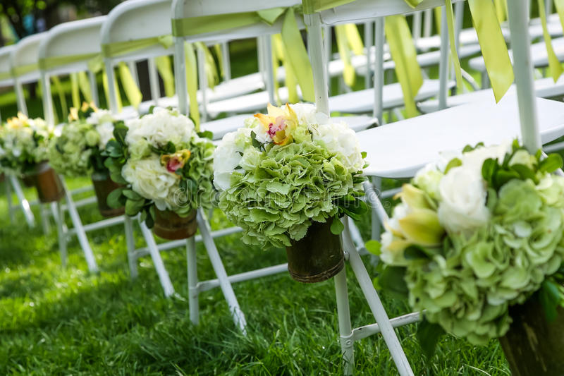 Wedding chair. S on the grass royalty free stock photos