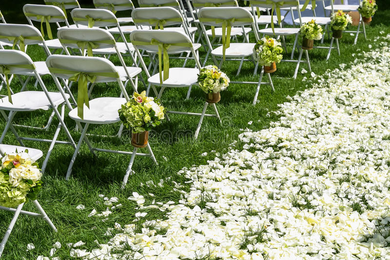 Wedding chair. S on the grass stock images