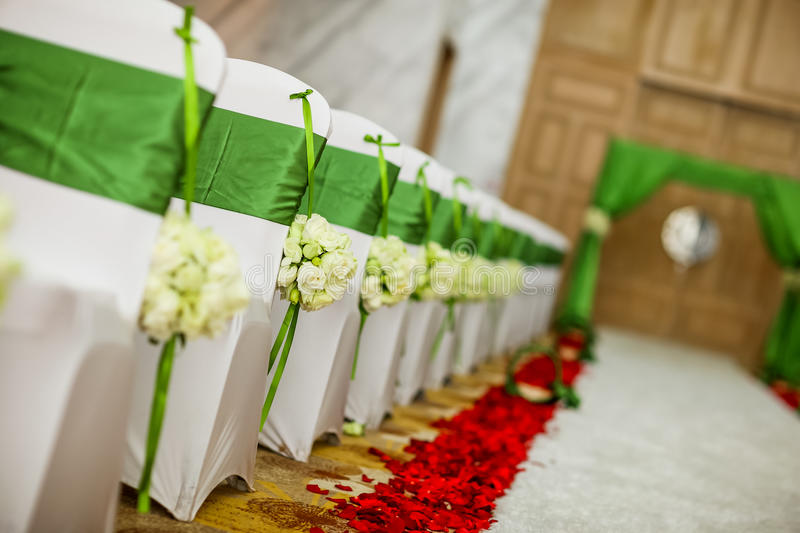 Wedding chair. S and wedding bouquets royalty free stock photo