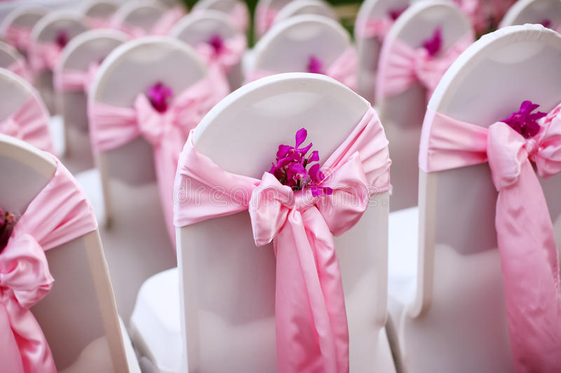 Wedding chair. S and wedding bouquets stock photo