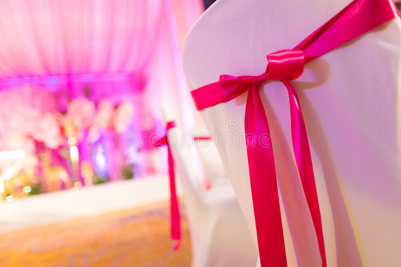 Wedding chair. S with ribbon decorations royalty free stock photos